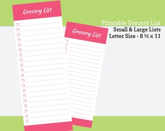 Printable Grocery List - Portrait (8.5  x 11) and Landscape (11 x 8.5 ). PDF Grocery Shopping Planner - Pink