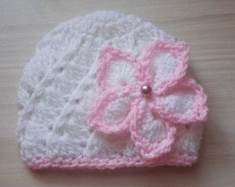 Crochet baby hat, newborn girl hat, baby girl hat, baby girl beanie, girl newborn hat, crochet newborn hat, white baby hat