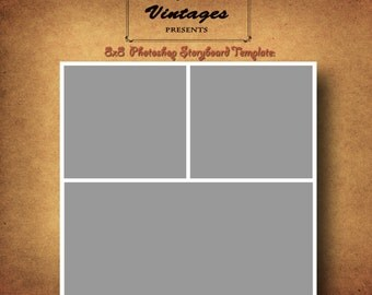 Instant Download- 8x8 Storyboard Photographers Template Photoshop Digital Collage 3 Panel Photo Blog Board no. 1