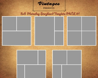 Instant Download- 8x8 Storyboard Photographers Template Collection Pack Photoshop Digital Collage 4 Panel Photo Blog Board Pack #1
