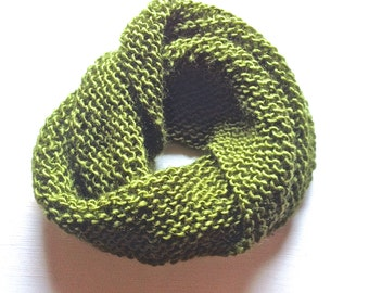 Olive Knit Circle Scarf