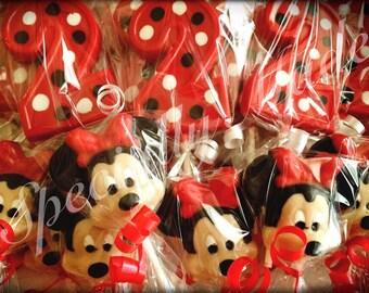 Minnie Mouse Lollipops. Number 2 Lollipops. Minnie Mouse party favors. Minnie Mouse birthday favors.