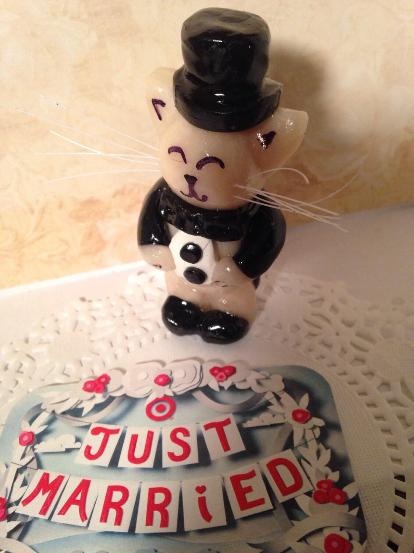 wedding cake topper polymer clay groom kitty cat by KatzenKlaa