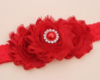 red headband, baby girl headband, toddler headband, red lace headbands, red flower girl headband, Infant headband, lace headband photo prop