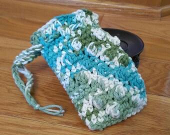 Soap Saver Bag - Soap Bag - Exfoliating Soap Bag - Massaging Soap Bag - 100% Cotton - Hanging Soap Bag - Blue green - Ready to Ship