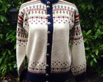 Fair Isle Norwegian wool sweater by WILLIAM SCHMIDT of Oslo-M/L