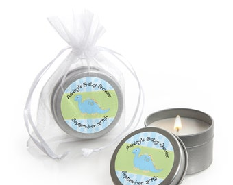 Dinosaur Candle Tin Baby Shower or Birthday Party Favors - 12 Count