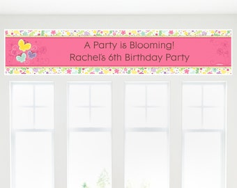 Butterfly and Flowers Banner - Custom Baby Shower or Birthday Party Decorations