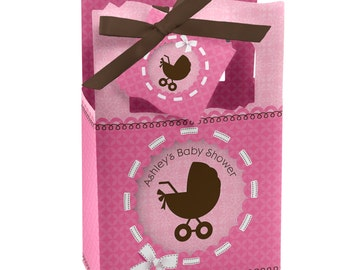 12 Girl Baby Carriage Favor Boxes - Custom Baby Shower Party Supplies