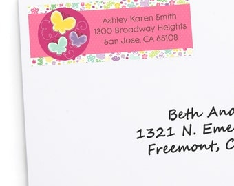 Butterfly and Flowers Address Labels - Personalized Return Address Sticker - 30 Count