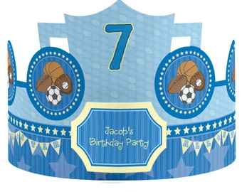 8 Custom All Star Sports Party Hats - Birthday Party Hats - Party Supplies - 8 Count