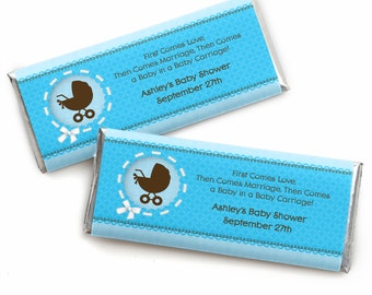 24 Baby Boy Carriage Custom Candy Bar Wrappers - Personalized Baby Shower Party Favors