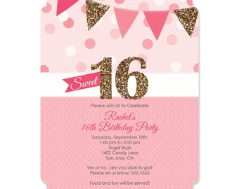 Sweet 16 Birthday Invitations - Personalized Birthday Party Invites - Set of 12