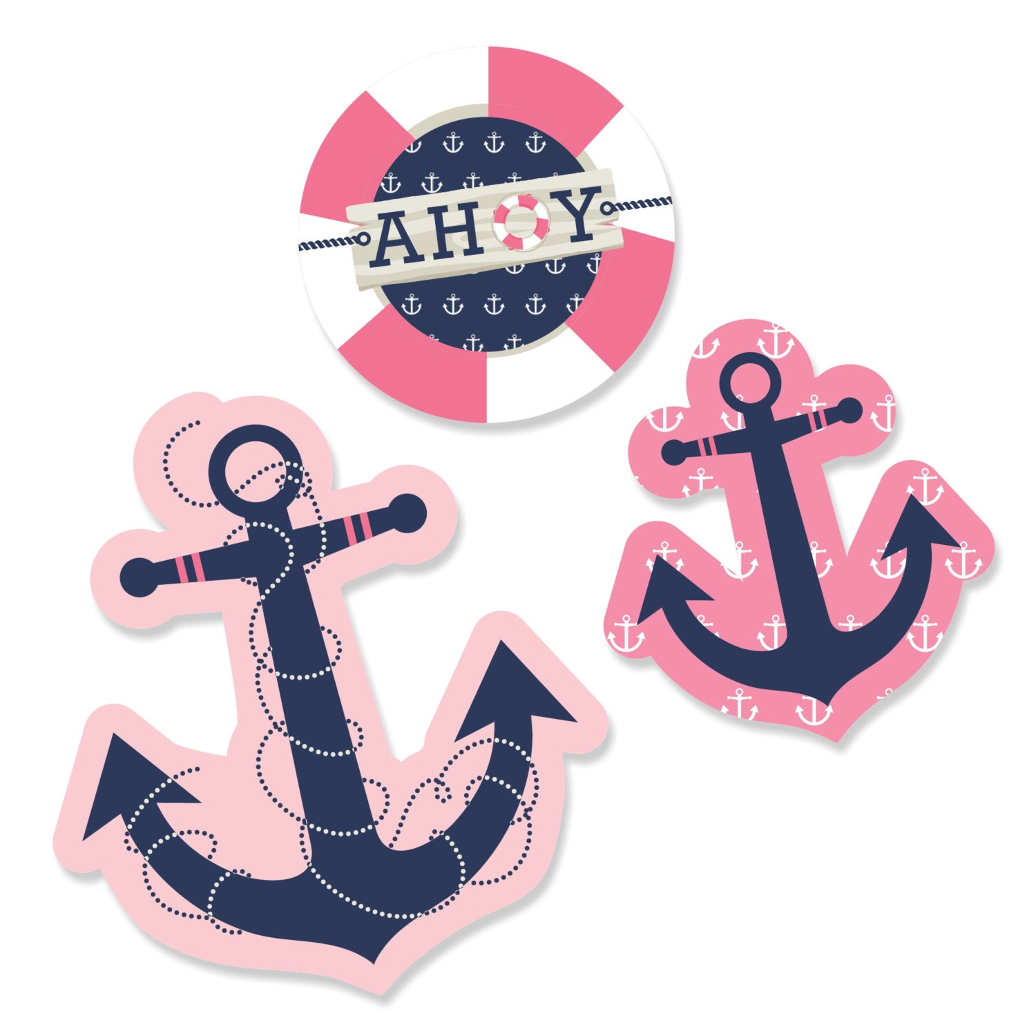 24 pc small ahoy nautical girl anchor shaped paper cut outs for Baby shower decoration cutouts