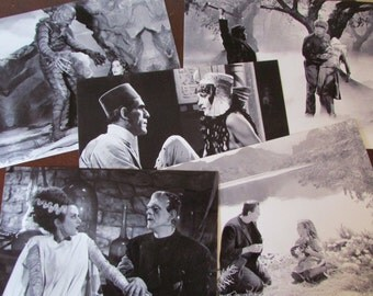 Lot Of Five Classic Universal Monsters Photographs, Frankenstein, Wolf Man, The Bride, Creature, and Mummy - 8 x 10 Prints