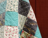 RESERVED FOR MICHELLE - Baby Girl Rag Quilt - Reversible Patchwork - Twin Size Quilt - Teal, Navy, Cream, Flowers