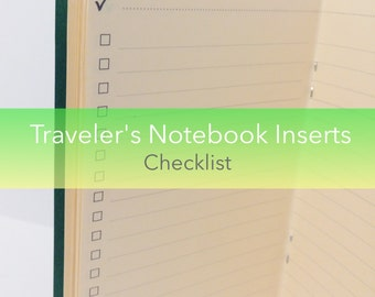 Checklist Traveler's Notebook Insert Booklet {Pocket Size} // Choose Cover & Paper Colors!