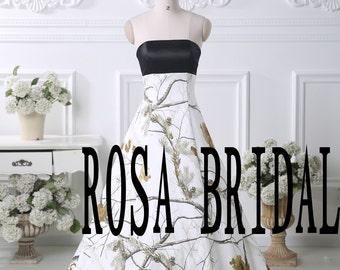 Camo wedding dress, Camouflage wedding gown, Camo A line bridal dress Custom Size