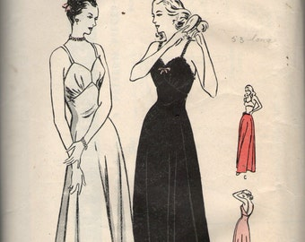 """Vintage 1940s Butterick Sewing Pattern 4607 - Misses' Flared Slip and Petticoat bust 36"""""""