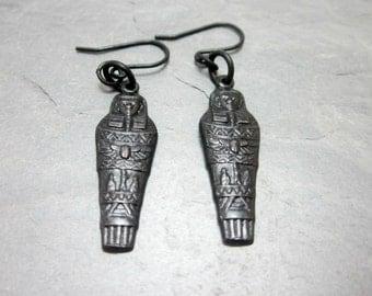 Mummy Earrings Egyptian Earrings Black Sarcophagus Black Brass Charms Halloween Earring Cosplay Earring