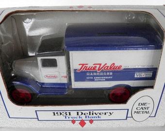 Vintage Ertl Die Cast 1931 True Value Delivery Truck Bank