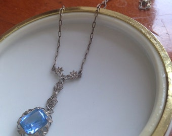 Art Deco Sterling Silver Filigree Necklace with Blue Glass Gem