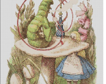 Counted Cross Stitch Pattern, Alice in Wonderland and Caterpillar, Lewis Carroll, Children, Paper Pattern or Complete Kit