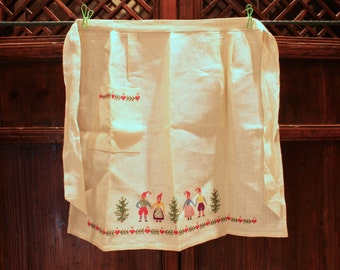 Price Reduced:  Scandinavian Christmas (Yule) Linen Apron