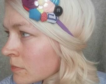 Multi colored embellished elastic head band