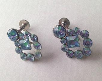 Vintage Aquamarine Screw Back Earrings 1950's