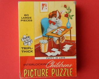 Vintage Valentines Day Jigsaw Puzzle, Puppy in Love, Tuco, 60 Pieces