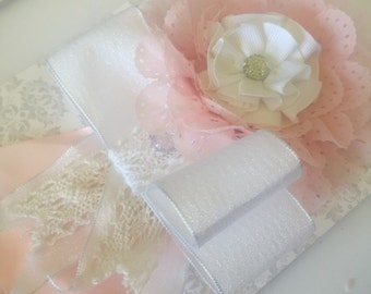 Large flower and bow headband
