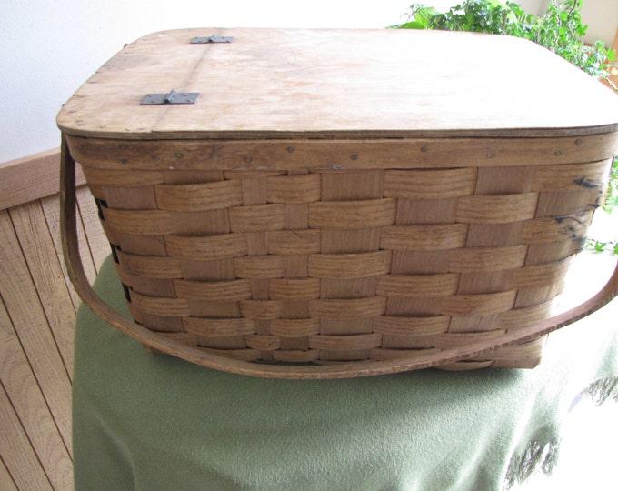 Vintage Basketville Picnic Basket Vermont Food Hamper Rustic Baskets