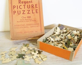 Vintage Regent Jigsaw Picture Puzzle A Study In Color Interlocking Jig Puzzle Reproduction Artistic Oil Painting 1950s