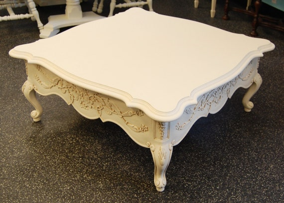 Free ship vintage coffee table with curvy by lakenessroad for Antique cream coffee table