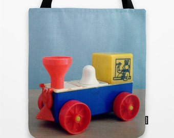 Vintage Toy Train Tote Bag - blue, red, yellow, photography, diaper bag, book bag, library bag,