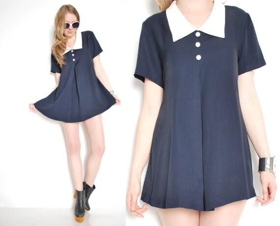 90s dress babydoll dress vintage tunic pointy collar