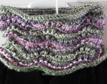 Hand Knit Cowl Scarf Chunky Knit Cowl Scarf Infinity Scarf Hand Made Cowl Neckwarmer Pink Green Purple Womans Winter Scarf Cowl Gift for Her