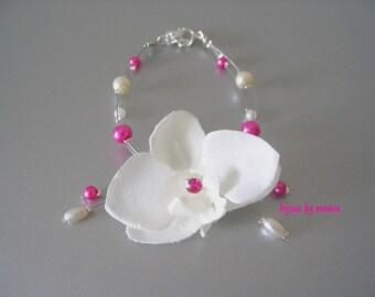 Wedding jewelry orchid ivory bracelet beads fuchsia and ivory