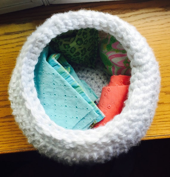 Handmade Crochet Basket : Handmade crochet basket in white by gypsynationcrafts on etsy