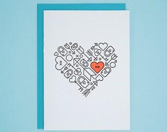 Heart, Arrow, Lock and Key / Letterpress Card