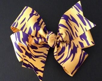 LSU Hair Bow ~ LSU Tiger Pinwheel Hairbows Tiger Print Ribbon