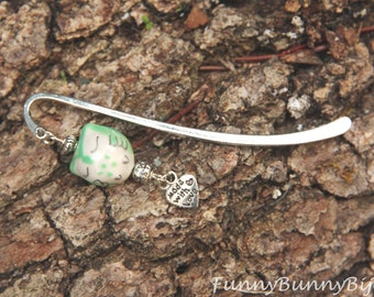 Jewel bookmark in Tibetan silver with a funny owl