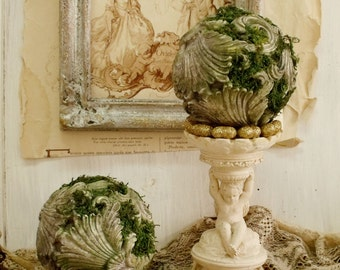 SALE Aged stone Architectural moss balls bookends