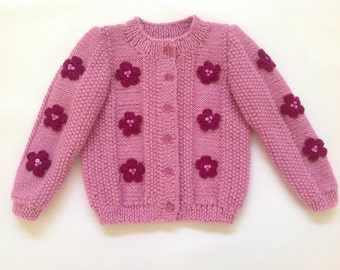 Girls Lavender Cardigan with Flowers