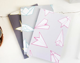Origami A6 Pocket Notebooks Pocket Notebook Diary Travel Journal Jotter Cute Sketchbook Illustration Origami Crane Unique Gift Cute Gift