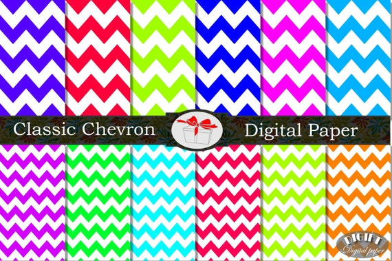 Chevron digital paper Printable chevron invitation Chevron decor Pink Chevron party decorations Rainbow chevron baby shower Blue chevron art