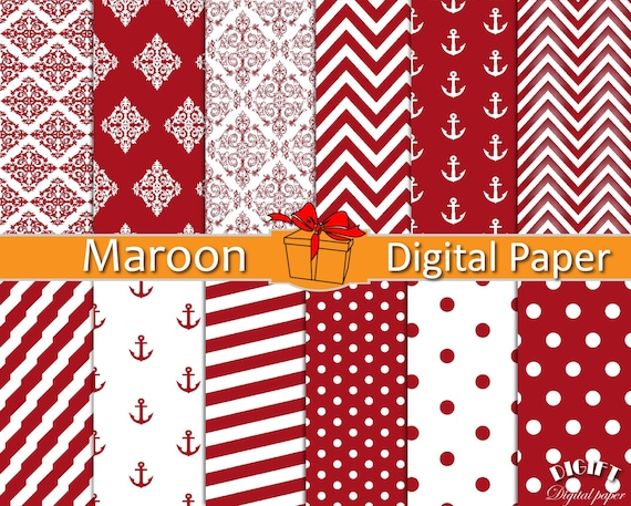 Maroon digital paper Dark red decor Maroon chevron fabric prints Red damask Red and white stripe Red polka dot invitation paper Maroon party