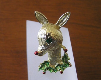 Gerrys Rudolph Pin Brooch, Gerrys Rudolph the Red Nosed Reindeer Pin, Vintage Rudolph Christmas Pin