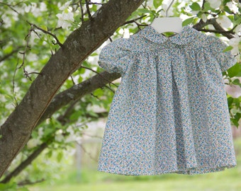 Floral Lawn Baby Dress with Peter Pan Collar // Vintage Style